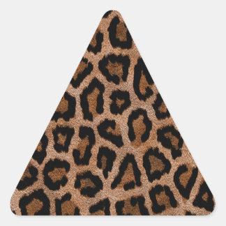 Furry Leopard Animal Print Triangle Sticker