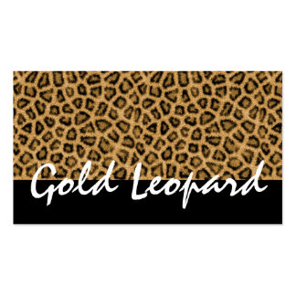 Furry Leopard Print, Wild Animal - Leopard Gold Double-Sided Standard Business Cards (Pack Of 100)