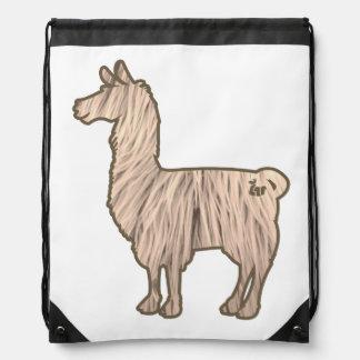 Furry Llama Drawstring Bag