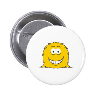 Furry Monster Smiley Face 2 Inch Round Button