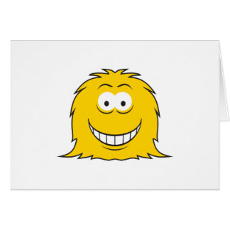 Furry Monster Smiley Face Card