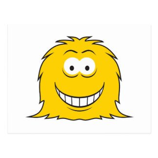 Furry Monster Smiley Face Post Card