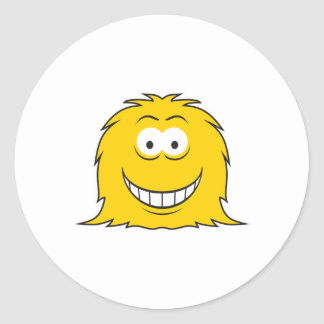 Furry Monster Smiley Face Round Sticker