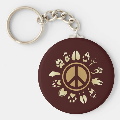 Furry Peace Basic Round Button Keychain