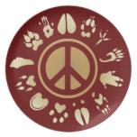 furry peace melamine plate