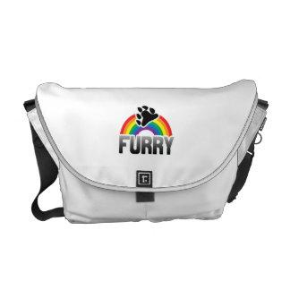 FURRY RAINBOW COURIER BAG