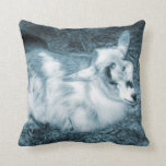 Furry small blue goat doeling baby right throw pillow