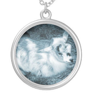 Furry small blue goat doeling baby right silver plated necklace