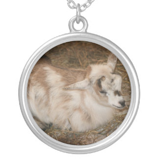 Furry small goat doeling baby right round pendant necklace