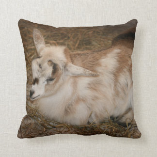 Furry small goat doeling baby throw pillow
