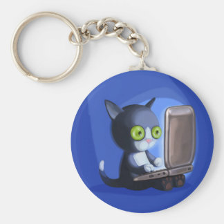 Furry Surfers Black and white Keychain