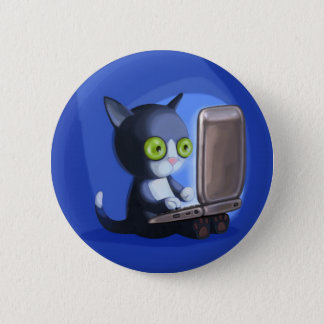 Furry Surfers: Black and white Pinback Button