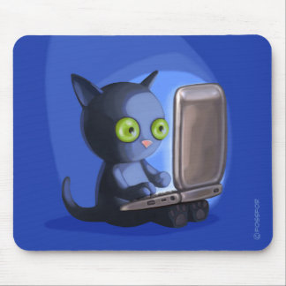 Furry Surfers: Black Cat on a laptop Mouse Pad