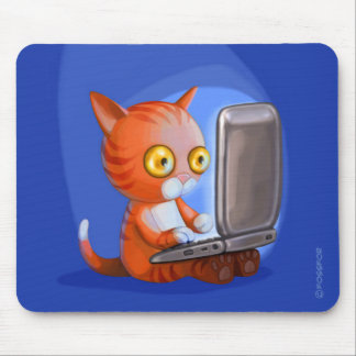 Furry Surfers Ginger Cat on a laptop Mouse Pad