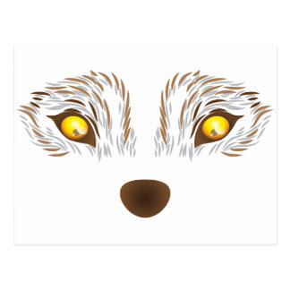 Furry wolf face postcard