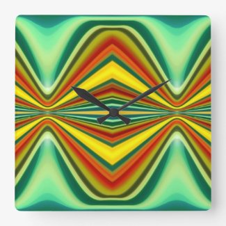 Fury Pattern 10 Green Square Wallclocks