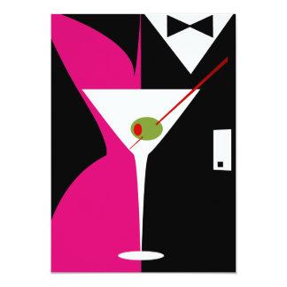 Fuschia and Black Classy Martini Cocktail Card