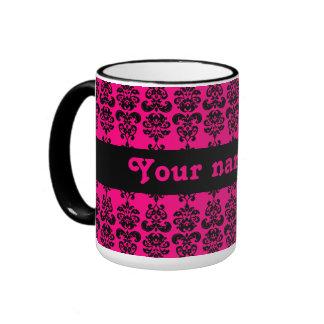 Fuschia and black mini damask print ringer coffee mug