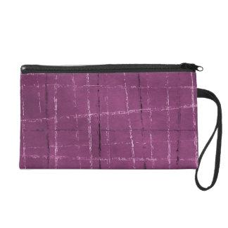 Fuschia and black natural plaid wristlet purse