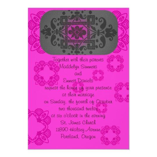 Fuschia and Gray Wedding Invitations