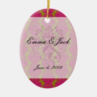 fuschia and olive fleur damask pattern ceramic ornament
