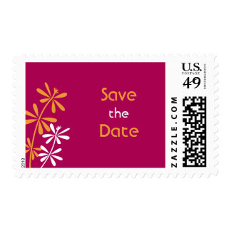 Fuschia and Orange Save the Date stamps