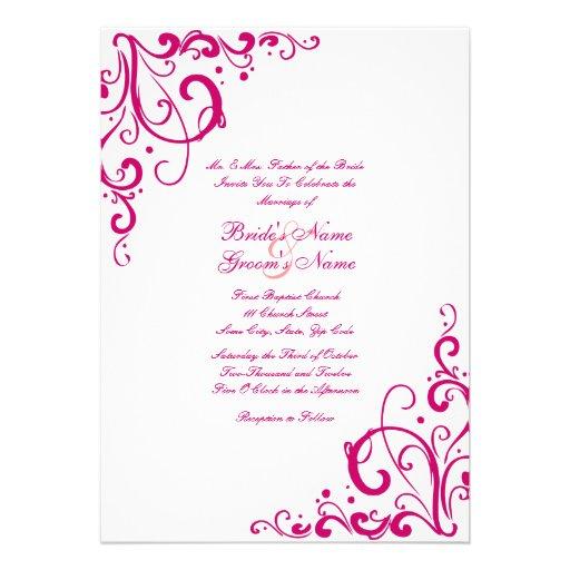 Fuschia and White Flourish Wedding Invitation