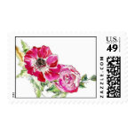 Fuschia Anemone and Garden Rose Postage