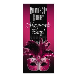 Fuschia Black Masquerade Birthday Party Invitation Rack Card