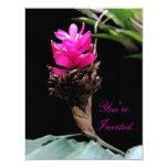 Fuschia floral invitación 10,8 x 13,9 cm
