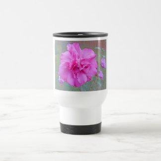 Fuschia floreciente hermoso subió tazas de café