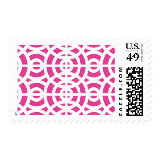 Fuschia Geometrical Midcentury Modern Pattern Postage