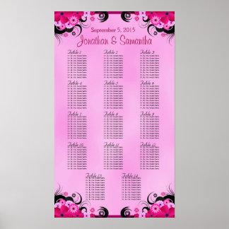 Fuschia Hibiscus Wedding Table Seating Charts - 14 Poster