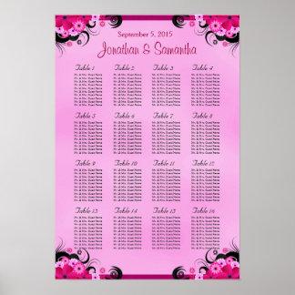 Fuschia Hibiscus Wedding Table Seating Charts - 16 Poster