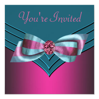 Fuschia Hot Pink Teal Blue All Occasion Party Card