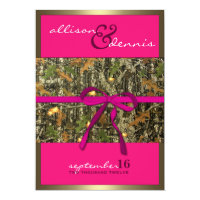 Fuschia Lavish Camo Wedding Invitations