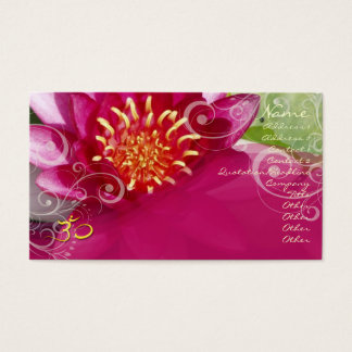 Fuschia lotus + pearly swirls business card