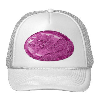 Fuschia Metallic Dragon Medallion Trucker Hat