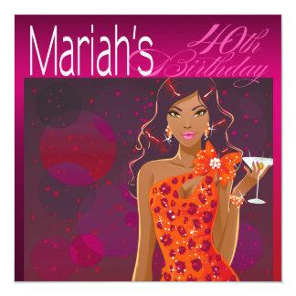 "Fuschia/naranja bonitos de señora Birthday Invitación 5.25"" X 5.25"""