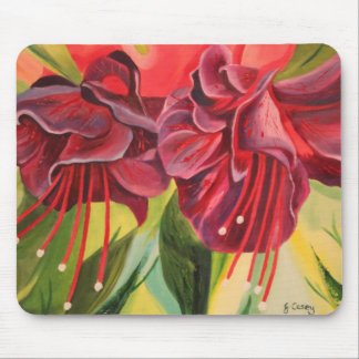 Fuschia Oil Painting Mousemat By Joanne Casey Mouse Pad
