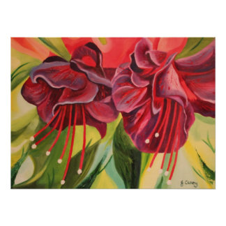 Fuschia Oil Painting Print Poster By Joanne Casey