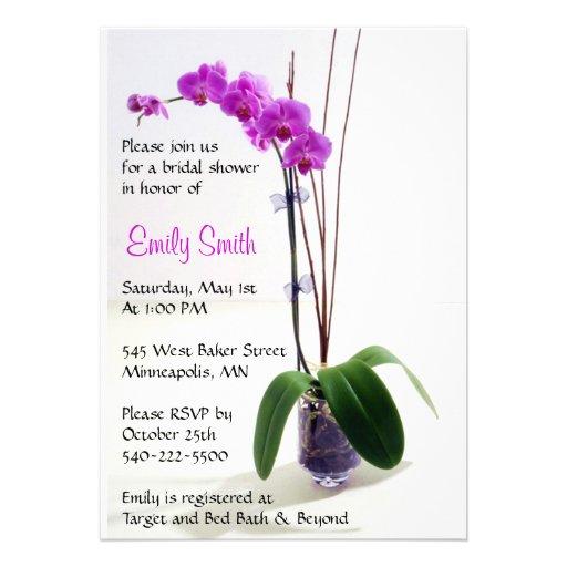 Fuschia Orchid Bridal Shower Invitation