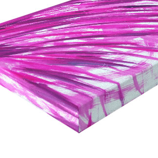 Fuschia Palm Frond on Wrapped Canvas