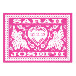 Fuschia Papel Picado Love Birds Wedding Invitation