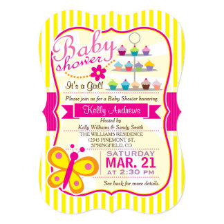 Fuschia Pink and Yellow Butterfly Girl Baby Shower Card
