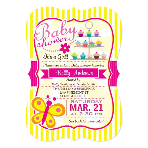 fuschia pink and yellow butterfly girl baby shower card zazzle