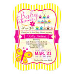 Fuschia Pink and Yellow Butterfly Girl Baby Shower 5x7 Paper Invitation Card