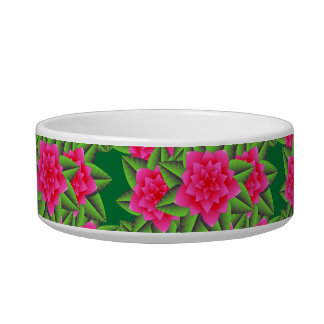 Fuschia Pink Camellias and Green Leaves Bowl
