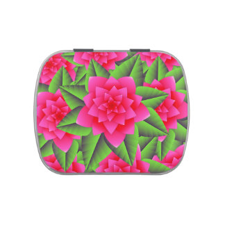 Fuschia Pink Camellias and Green Leaves Candy Tins