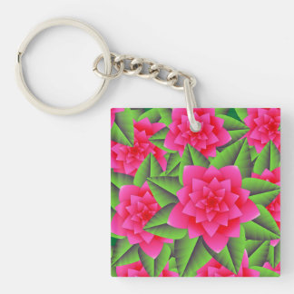 Fuschia Pink Camellias and Green Leaves Keychain